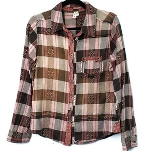 We the Free Plaid Casual Comfy Western Top